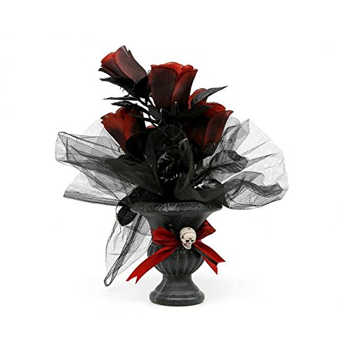 D/écoration bouquet de fleur t/ête de mort Halloween