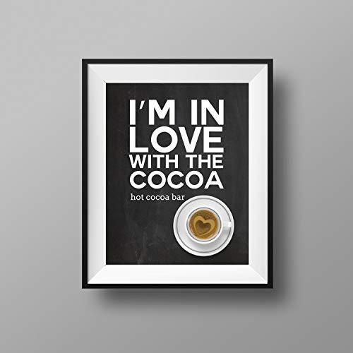 MalertaART Hot Chocolate Bar Hot Chocolate Bar Sign Im in Love with The Cocoa Hot Cocoa Bar Sign Hot Cocoa Bar 11x14 Framed Wall Art ()