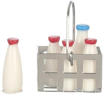 1//12 Dollhouse Furniture Miniature Metal Milk Basket With 5pcs Bottles Set Dolls