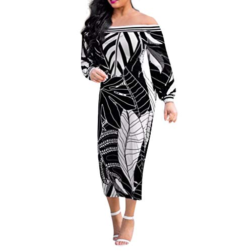 Botrong Off Shoulder Dresses for Women Printed Sexy Long Sleeve Casual Dress Black
