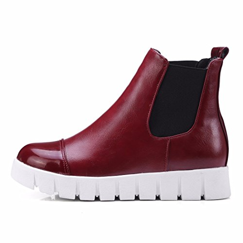 Autumn and winter yards of women's shoes, with thick soles and short Martin boots Red (Terry)