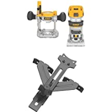 DEWALT DWP611PK 1.25 HP Max Torque Variable Speed Compact Router Combo Kit with LED's w/ DNP618 Edge Guide for Fixed Base Compact Router