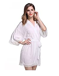 DF-deals Women's Cotton Kimono Robe for bride and Bridesmaid with Lace Trim