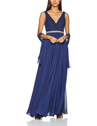 Mascara Lace Shoulder, Vestido de Noce para Mujer Azul (Navy)