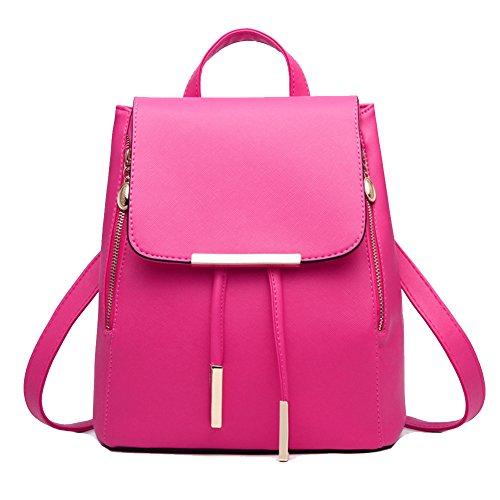 Mochila Bolso del Hombro Pu Piel Encantador y Elegante para Mujeres Verde Rosa