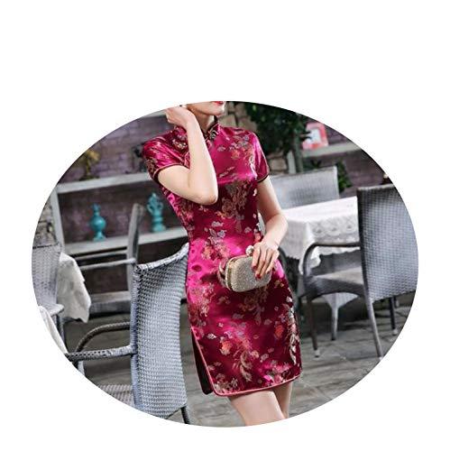かもめ夕食を作る対称中国スタイルのの首輪の服ヴィンテージサテンショートミニ S M L XL XXL XXXL 4XL 5XL 6XL,バーガンディードラゴン,5XL