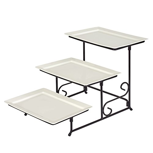 3 Tier Rectangular Porcelain Serving Platters with Strong and Sturdy Swivel Metal Rack - Food Display, White