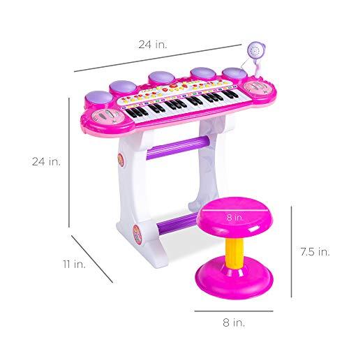 37 Key Electric Kids Piano Mini Musical Toy Keyboard w// Mic /& Stand Pink