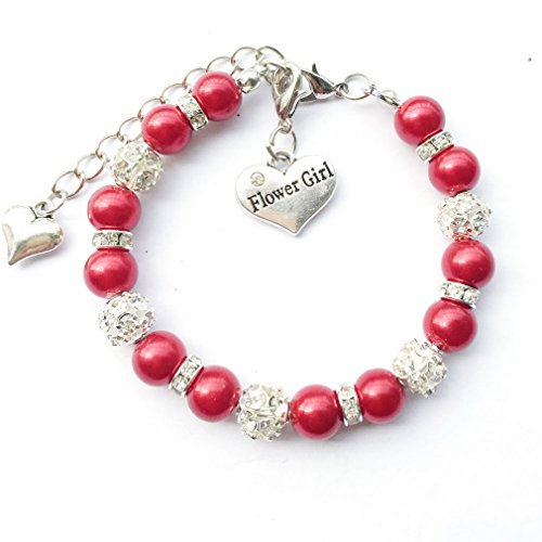 - DOLON Faux Pearl Beaded Flower Girl Charm Bracelet Handmade Thank You Wedding Gift Girls Teens Jewelry Red