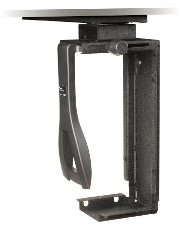 3M Under-desk CPU Holder, Width adjusts from 3.5' to 9.3' and height adjusts from 12.5' to 22.5' to fit most CPU's up to 50 lbs, 360⁰ Swivel, Steel Construction, 17' Track, Black, (CS200MB)