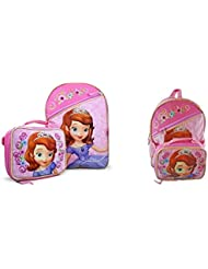 Sofia The First 16 School Backpack with attached lunch tote Set