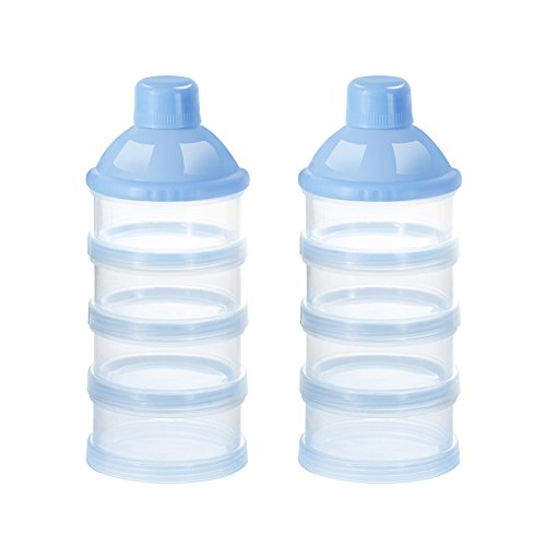 Baby Milk Powder Formual Dispenser, Non-Spill Smart Stackable Baby Feeding Travel Storage Container, BPA Free, 4 Compartments (2 Pack, Blue)
