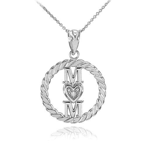 Collier Femme Pendentif 14 Ct Or Blanc Côtelé Cercle Mom Amour Cœur avec Diamant (Livré avec une 45cm Chaîne)