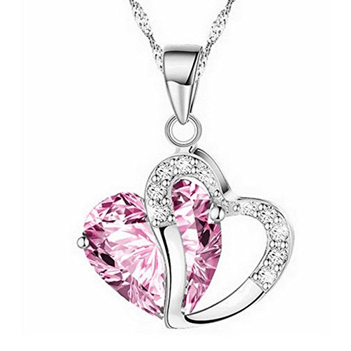 Thenxin Fashion Women Lucky Heart Crystal Rhinestone Silver Chain Pendant Necklace Jewelry (Pink) ()
