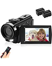 toberto Video Camera Camcorder Full HD 1080P 30FPS Digital Camera Vlogging Camera for YouTube 3.0 Inch LCD 270 Degrees IPS Screen LED with 2 Batteries