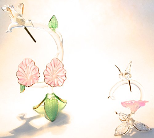 Two Humming Bird Over Flower 2x Crystal Figurine Collectable Statues #C46