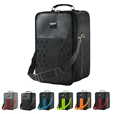 Small Wig Travel Box with Top Handle, Shoulder Strap & Double Zipper, Carrying Case with Removable Head-Holding Base - Black Square Design - by Adolfo Design