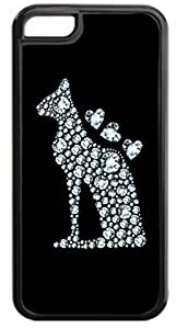 Diamond Print Dog Silhouette-Hearts- Case for the APPLE iphone 6 4.7 ONLY-NOT FOR THE iphone 6 4.7 !!!-Hard Black Plastic Outer Case