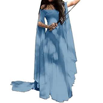 Mujeres Vestido Largo Vintage Traje Medieval Mujer Fiesta Disfraz con Mangas Acampanadas Retro Victoriano Renacentista Vestido Tallas Grandes