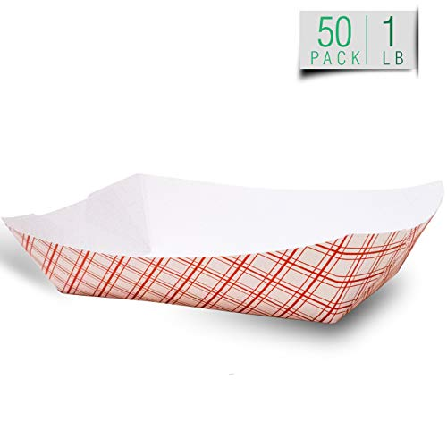 Disposable Paper Food Tray   Red Plaid Kraft   Taco Basket, Hot Dog Boats, French Fry Holders, Serving Boat   For Parties, Fast Food, Snack Eating   USA Made, Recyclable   Bulk 50pc   Small (Food Red Tray Plaid Paper)