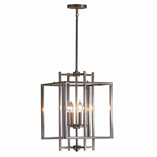 Brushed Nickel Foyer Cage - Brushed Nickel Industrial Single Cage Pendant