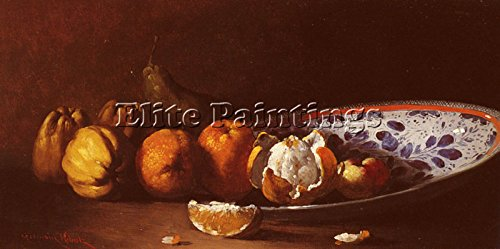 (RIBOT GERMAIN ODULE CLEMENT NATURE MORTE AUX FRUITS ARTIST PAINTING OIL CANVAS 24x48inch)