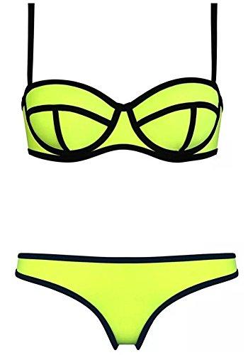 Yellow Brillante Costume insieme Scafandro Neoprene Donne bikini Botobkn Costume 0wx8BAYwq