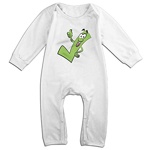 Tongbu Checkmark Clipart Baby's Bodysuit Climb Clothes Boy & Girl Soft Cotton Long Sleeve Romper Jumpsuit 18 MonthsWhite