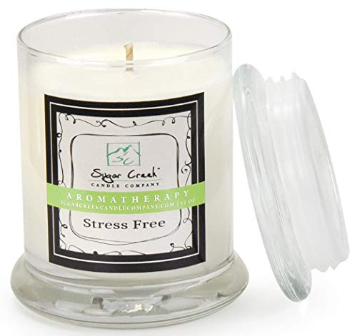 Aromatherapy Soy Wax Scented Candle - Stress Relief (Eucalyptus Mint) | Non Toxic - Essential Oils | 75 Hours Burn Time (12 ounces Heavy Glass) | Sugar Creek Candles]()