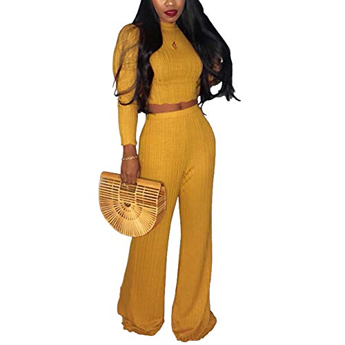 ECHOINE Women's 2 Piece Outfits Sweater Jumpsuits Long Sleeve Crop Top High Waist Skinny Pants Set Yellow XXL