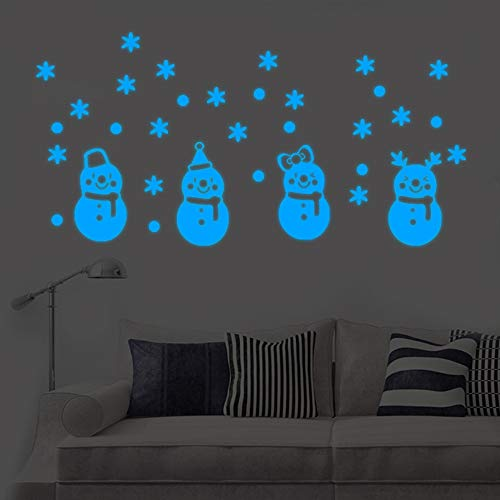 Vacally Christmas Glow Snowman Wall Stickers Living Room Cute Cartoon Luminous Floor Stickers Window Wall Car Art Decorations for Christmas Party ()