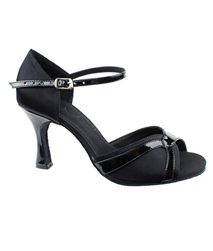 Very Fine Ballroom Latin Tango Salsa Dance Shoes for Women SERA3710 3-Inch Heel + Foldable Brush Bundle Black Satin-black Patent Trim NCuZjNNwX