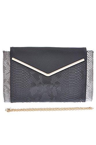 Womens Designer Snakeskin Pattern Chic Clutch Bag - Black
