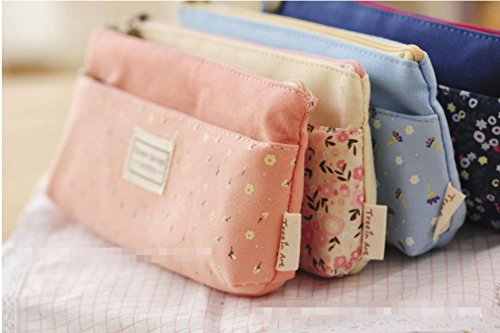 [해외]WEIYI 4pcs 꽃 인쇄 더블 가방 지퍼와 연필 가방 편지지 스토리지 가방/WEIYI 4pcs Flower Prints Pen Bag Pencil Case Stationery Storage Bag with Double Zipper