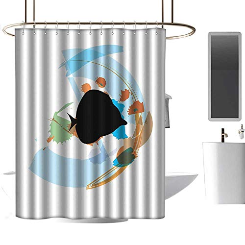 coolteey Shower Curtains red and Black Fish,Silhouette of a Discus Cichlid in a Partly Illustrated Bowl Cartoon in Pastel Colors,Multicolor,W72 x L72,Shower Curtain for ()