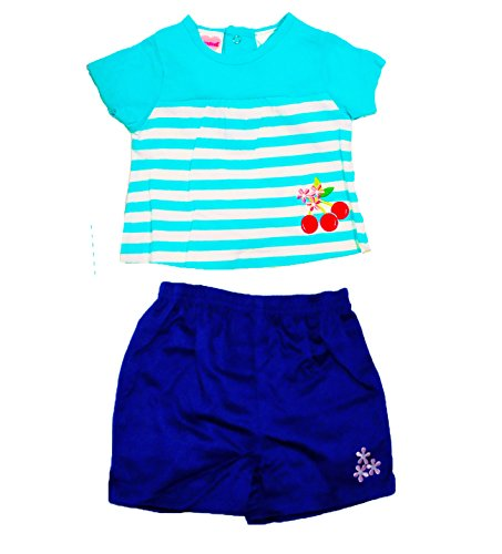 Two Piece Set with Embroidered Cherry and Flowers Detail (18 Months)