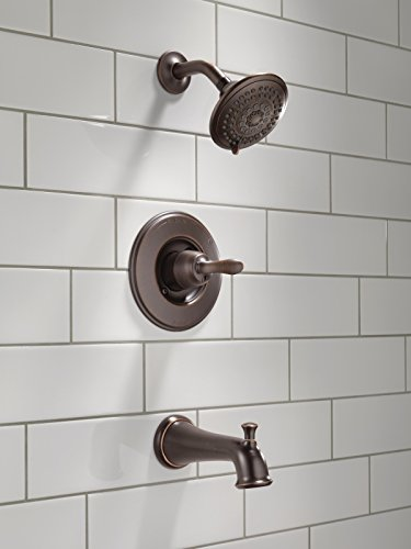 Delta T14494-RB Linden 14 Series Single-Function Tub and Shower Trim Kit with 5-Spray Touch Clean Shower Head, Venetian Bronze (Valve Not Included)
