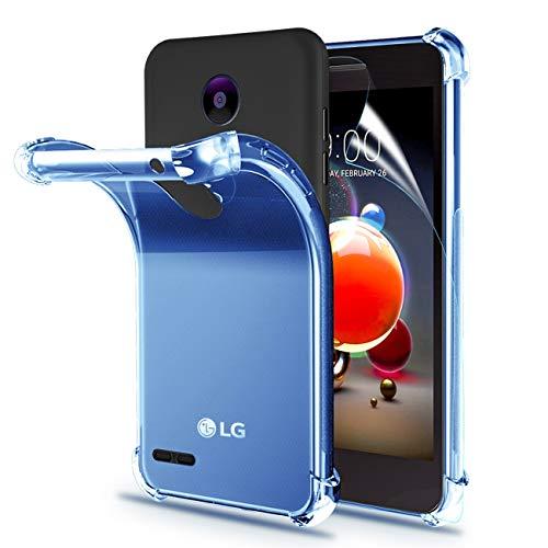 LG Aristo 2 Case,Rebel 4 Phone Case,Tribute Dynasty/Zone 4/Fortune 2/Risio 3/Aristo 2 Plus/K8 2018/K8+/Phoenix 4/LV3 2018 Case+Screen Protector,Shock Absorption Slim Soft TPU Clear Case Cover-Blue Blue Rubberized Protector Case