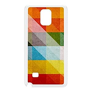 Pastel Colorful Triangles Pattern White Hard Plastic Case for Galaxy Note 4 by UltraCases + FREE Crystal Clear Screen Protector