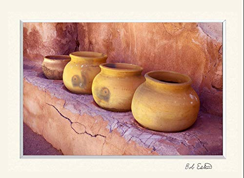 11 x 14 inch mat including a wall art photograph of four ceramic pots on shelf of adobe walled building at the historical Southwest Spanish Tumacacori church mission in Arizona.