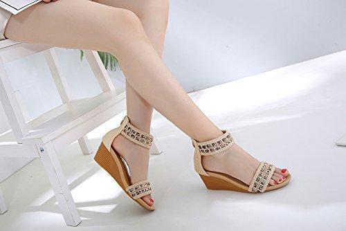 Ruiren Romains D'été Pour À Talons Dames Chaussures Sandales Abricot twA4rwq