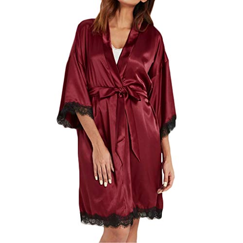 - ♥ HebeTop ♥ Women Sexy Silk Sleepwear Satin Lace Trim Nightwear Short Kimono Robe Wine