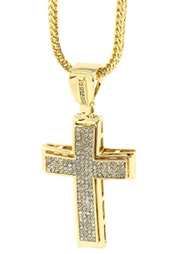 "Mens Gold Plated Iced Out Hip Hop Cross Pendant 36"" Inch Franco Chain A36"