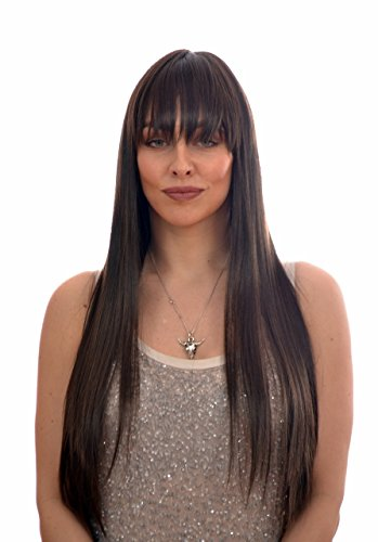 Extra Long Thick Straight Brunette Wig with Fringe | Lady Gaga style |]()