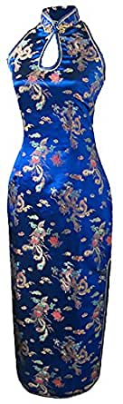 7Fairy Mujer Azul Marino Escotado por detrás Chino Vestido Largo Dragón Cabestro Tamaño ES 50