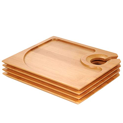 "BambooMN 7"" x 5.9"" Bamboo Cocktail Appetizer Plates with Wine Glass Holder, 4 Pieces"