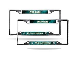 miami dolphins nfl chrome 2 ez view license plate frame set - Miami Dolphins License Plate Frame