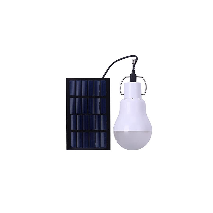 Solar Panel Powered LED Light Bulb Portable 1.2W/6V 110LM Solar LED Lights Lamp for Indoor Emergency Reading and Outdoor Hiking Camping Tent Lighting
