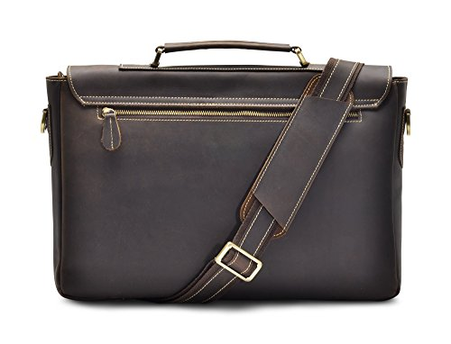 Holssen Satchel Messenger 15 Inch Laptop Genuine Leather Men Bag