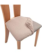 ALESWEAR 4PCS Stretch Spandex Jacquard Dining Room Chair Seat Covers, Removable Washable Anti-dust Dinning Chair Seat Cushion Protectors (Dining 4PC, Sandy Beige)